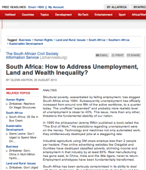 South Africa: How to Address Unemployment, Land and Wealth Inequality?