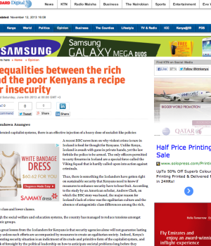 Inequalities between the rich and the poor Kenyans a recipe for insecurity