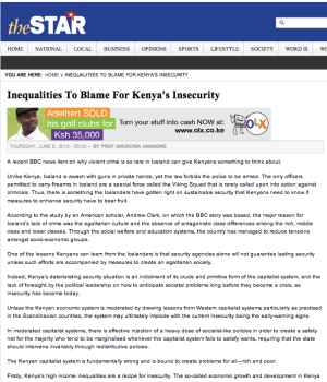 Inequalities To Blame For Kenya's Insecurity