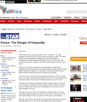 Kenya: The Danger of Inequality