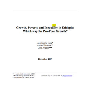 Growth, Poverty and Inequality in Ethiopia:  Which way for Pro-Poor Growth?