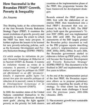 How successful is the Rwandan PRSP? Growth, Poverty and Inequality