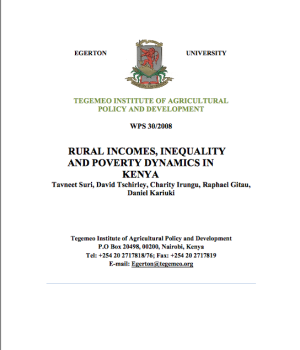 Rural Incomes, Inequality  And Poverty Dynamics In  Kenya