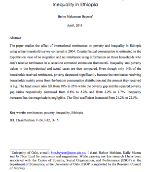 The Effect of International Remittances on Poverty and  Inequality in Ethiopia