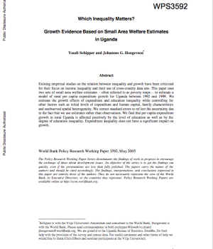 Which Inequality Matters? Growth Evidence Based On Small Area Welfare Estimates In Uganda