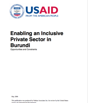 Enabling an Inclusive  Private Sector in  Burundi. Opportunities and Constraints