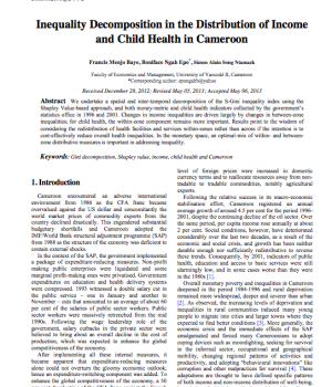 Inequality Decomposition in the Distribution of Income and Child Health in Cameroon