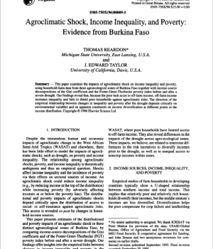 Agroclimatic Shock, Income Inequality, and Poverty: Evidence from Burkina Faso