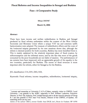 Fiscal Reforms and Income Inequalities in Senegal and Burkina  Faso : A Comparative Study
