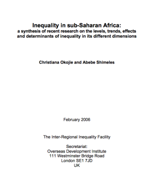 Inequality In Sub-Saharan Africa:  A synthesis of recent research on the levels, trends, effects and determinants of inequality in its different dimensions