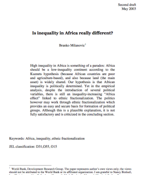 Is inequality in Africa really different