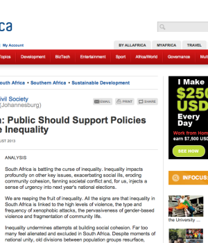 South Africa: Public Should Support Policies That Reduce Inequality