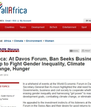 Africa: At Davos Forum, Ban Seeks Business Help to Fight Gender Inequality, Climate Change, Hunger