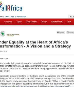 Gender Equality at the Heart of Africa's Transformation – A Vision and a Strategy