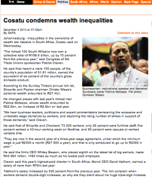 Cosatu condemns wealth inequalities