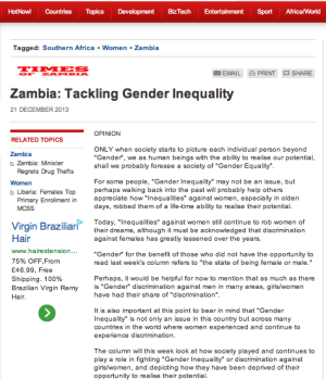 Zambia: Tackling Gender Inequality