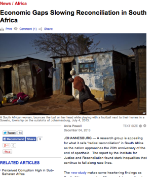 Economic Gaps Slowing Reconciliation in South Africa