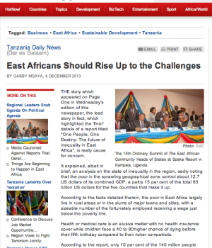 East Africans Should Rise Up to the Challenges