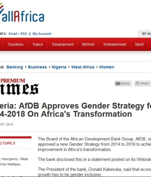 Nigeria: AfDB Approves Gender Strategy for 2014-2018 On Africa's Transformation