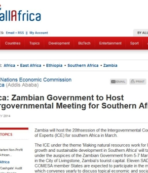 Zambian Government to Host Intergovernmental Meeting for Southern Africa