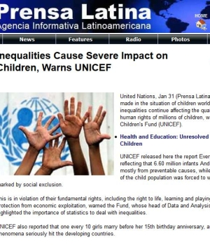 Inequalities Cause Severe Impact on Children, Warns UNICEF