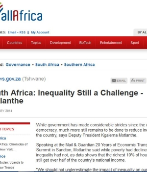 South Africa: Inequality Still a Challenge – Motlanthe