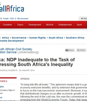 (English) Africa: NDP Inadequate to the Task of Addressing South Africa's Inequality