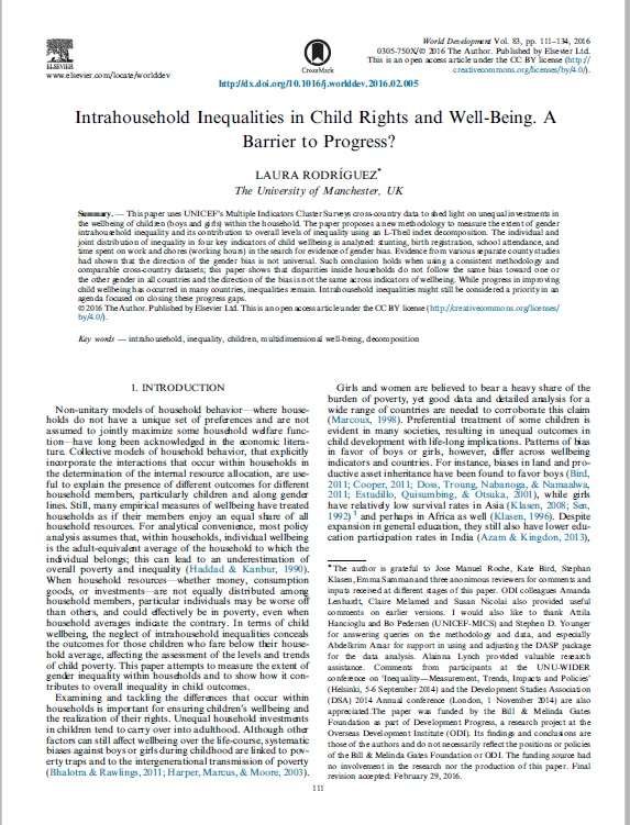 Intrahousehold Inequalities in Child Rights and Well-Being. A Barrier to Progress?