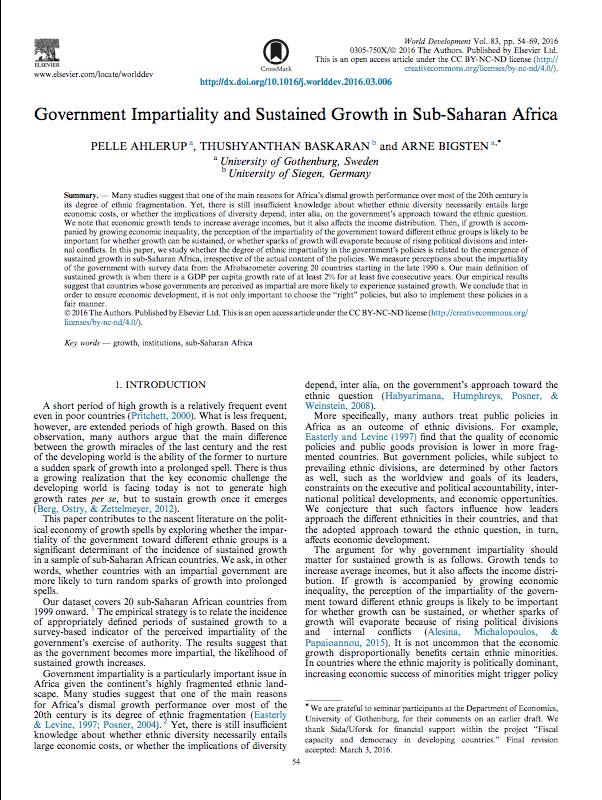 Government Impartiality and Sustained Growth in Sub-Saharan Africa