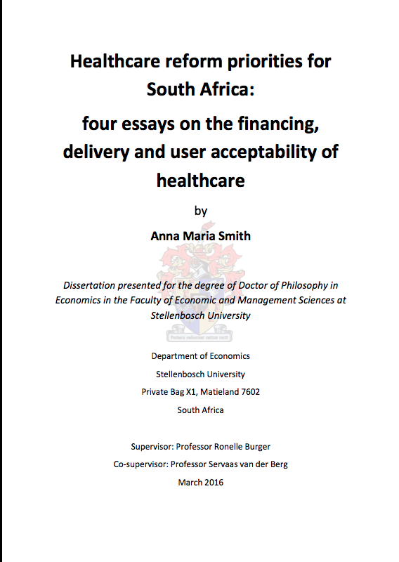 Healthcare Reform Priorities For South Africa Four Essays On The  Healthcare Reform Priorities For South Africa Four Essays On The  Financing Delivery And User Acceptability Of Healthcare