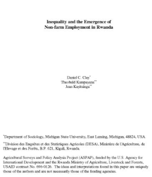 Inequality and the Emergence of Non-farm Employment in Rwanda