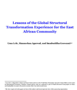 Lessons of the Global Structural Transformation Experience for the East African Community