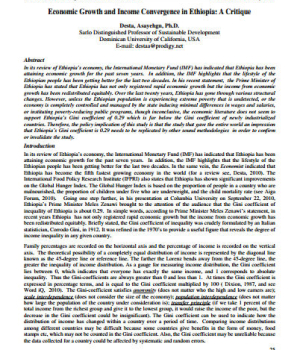 Economic Growth and Income Convergence in Ethiopia: A Critique