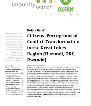 Citizens' Perceptions of Conflict Transformation in the Great Lakes Region (Burundi, DRC, Rwanda)