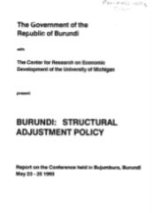 Burundi: Structural  Adjastment Policy