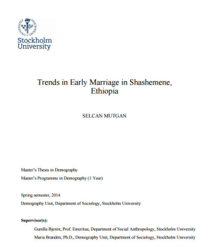 Trends in Early Marriage in Shashemene, Ethiopia