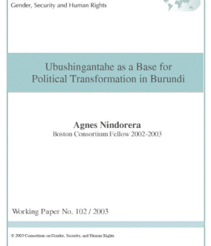 Ubushingantahe as a Base for Political Transformation in Burundi