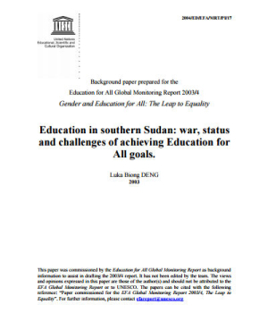 Education in Southern Sudan: War, Status and Challenges of Achieving Education for All goals