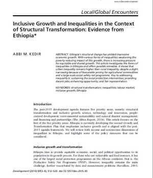 Inclusive Growth and Inequalities in the Context of Structural Transformation: Evidence from Ethiopia