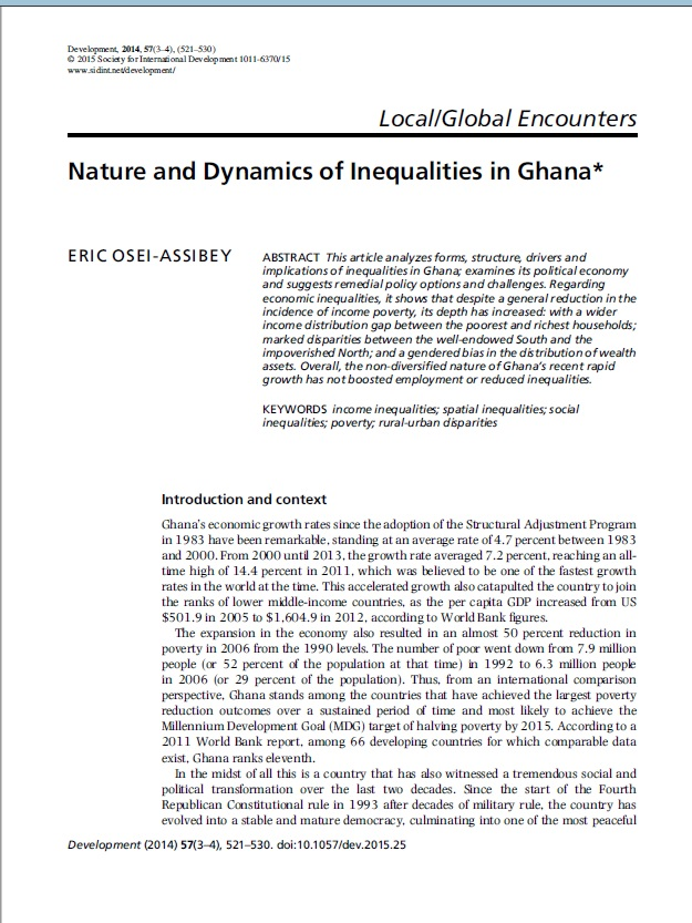 Nature and Dynamics of Inequalities in Ghana