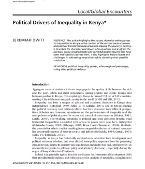 Political Drivers of Inequality in Kenya