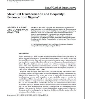 Structural Transformation and Inequality: Evidence from Nigeria