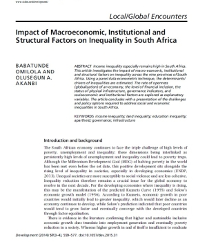 Impact of Macroeconomic, Institutional and Structural Factors on Inequality in South Africa
