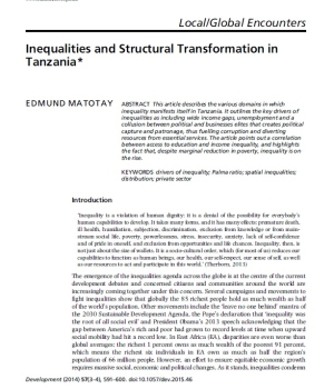 Inequalities and Structural Transformation in Tanzania