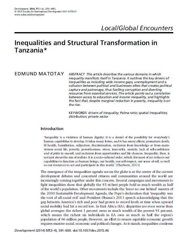Inequalities and Structural Transformation in Tanzania | Africa ...