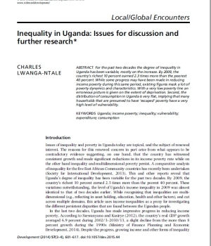 Inequality in Uganda: Issues for discussion and further research